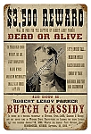 Butch Cassidy Wanted Poster Vintage Metal Sign