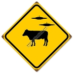 Caution Cow & UFO Vintage Metal Sign