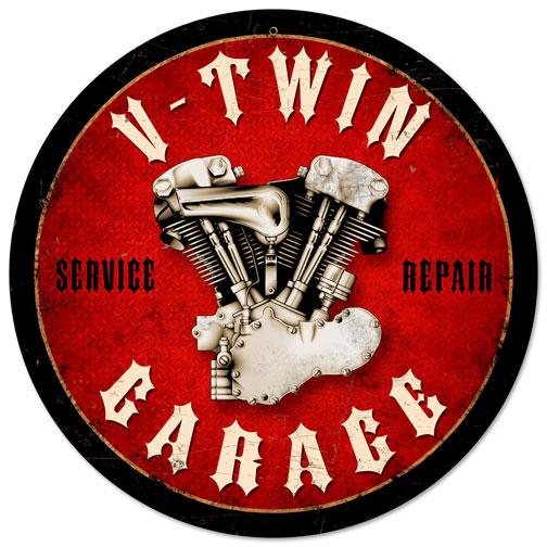Old Garage Signs : V twin garage vintage metal sign
