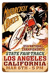 LA Motorcycles Vintage Metal Sign