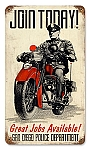 Police Motorcycle Vintage Metal Sign