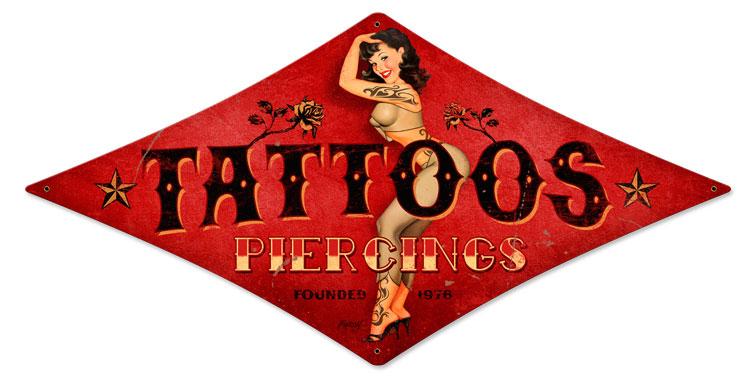 Tattoos Pin Up Vintage Metal Sign