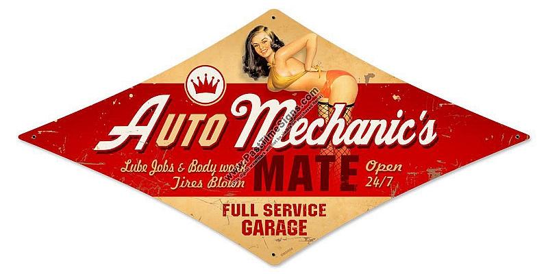 Vintage Car Signs : Auto mechanic pinup girl vintage metal sign