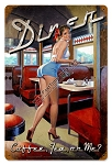 Coffee, Tea or Me Pin Up Metal Sign