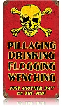 Pillaging Drinking Pirates Vintage Metal Sign