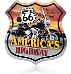 Route 66 Motorcycle Vintage Metal Sign
