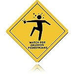 Drunken Pedestrians Vintage Metal Sign