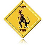 T-Rex Xing Vintage Metal Sign