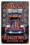 Route 66 Truckers Highway Vintage Metal Sign