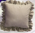 Brown Gingham Ruffled or Corded Throw Pillows Stuffed Set of 2