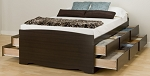 Tall Espresso Double (12-drawer) Platform Storage Bed By Prepac