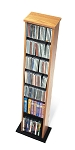 Oak with Black Bottom Slim Multimedia Storage Tower By Prepac