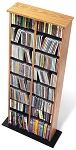Oak with Black Bottom Double Multimedia Storage Tower By Prepac