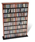 Cherry with Black Bottom Double Width Wall Storage By Prepac