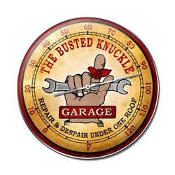 Busted Knuckle Garage Vintage Metal Sign Thermometer