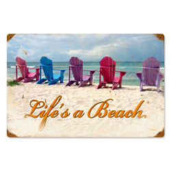 Beach Chairs Vintage Metal Sign