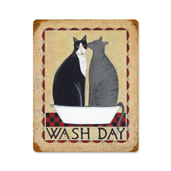 Wash Day Cats Vintage Metal Sign
