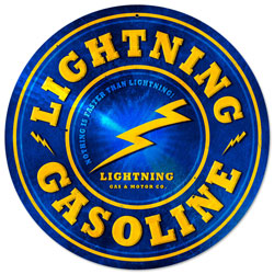 Lightning Gasoline Vintage Metal Sign