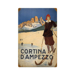 Cortina Ski Vintage Metal Sign