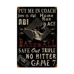 Baseball Vintage Metal Sign