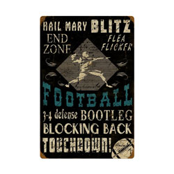 Football Vintage Metal Sign