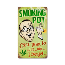 Smoking Pot Vintage Metal Sign