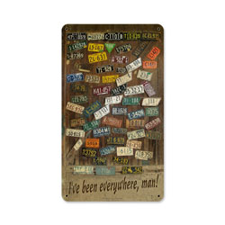 License Plates Ive Been Everywhere Man Vintage Metal Sign