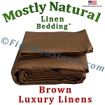 Queen Xl Size Brown Bed Linen Sheet Set 300 Thread Count