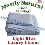 Super King Size Light Blue Bed Linen Sheet Set 300 Thread Count