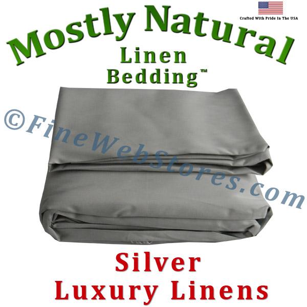 split king size silver bed linen sheet set 300 thread count