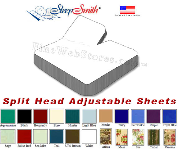 Eastern King Split Head Adjustable Sheets 50 50