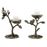 Bird And Branch Pillar Candle Holders