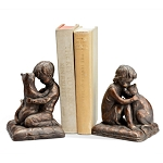 Boy, Girl And Cat Bookends