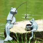 Fishing Frog Mama And Baby Garden Sculpture