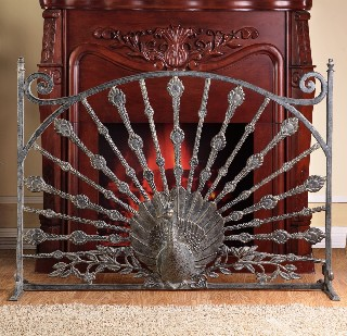 Peacock Fireplace Screen- Peacock Fireplace Screen Aluminum peacock fireplace screen is the perfect accent for your home decor. Beautifully designed and will accent any fireplace. Product Dimensions: 32 inches H x 12.5 inches W x 12.5 inches D 95% of