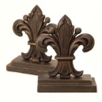 Regal Fleur de Lis Bookends