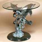 End Table With Dolphin and Sea Life Sculpture