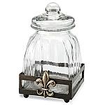 Small Fleur De Lis Glass Canister