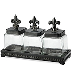 Fleur De Lis Glass Canisters Set Of Three