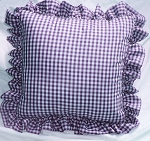 Grape Purple Gingham Ruffled or Corded Throw Pillows Stuffed Set of 2