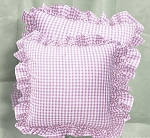 Light Purple Gingham Ruffled or Corded Throw Pillows Stuffed Set of 2