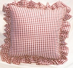 Red Gingham Ruffled or Corded Throw Pillows Stuffed Set of 2