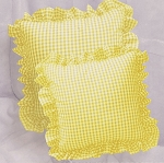 Yellow Gingham Ruffled or Corded Throw Pillows Stuffed Set of 2
