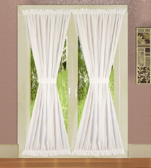 Bright White French Door Curtains