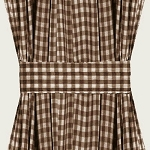 Brown Gingham Check French Door Curtains