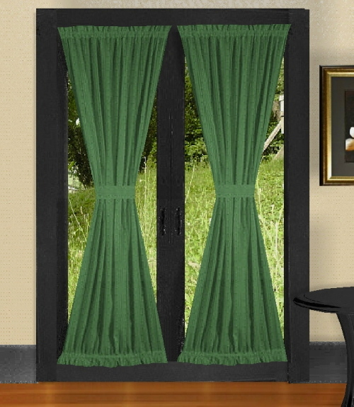 Hunter green french door curtains for Green french doors