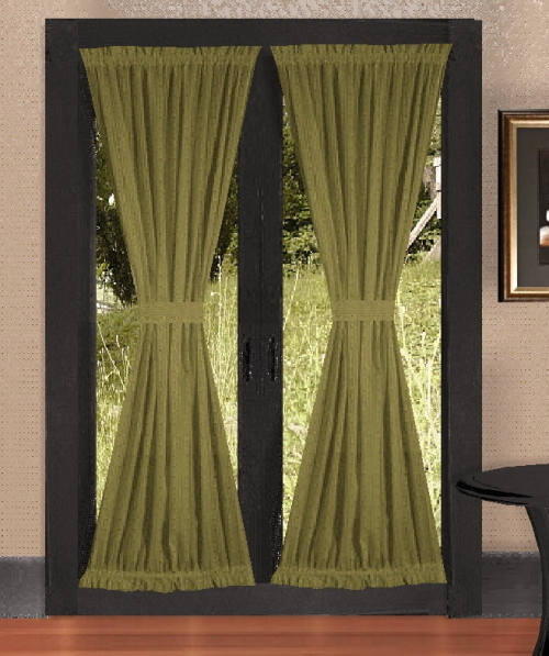 olive green french door curtains