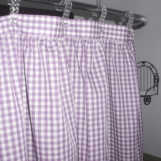Gingham Check Light Purple Shower Curtain Easy Care Polyester And Cotton  Blend