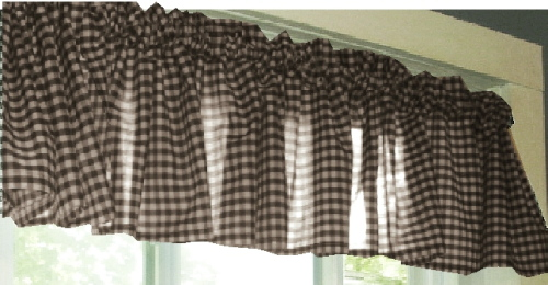 Brown Gingham Window Valance