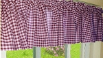 Burgundy Wine Gingham Window Valance